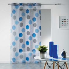 Odaly Eyelet Voile Curtain Panel with Printed Circles - Grey & Blue
