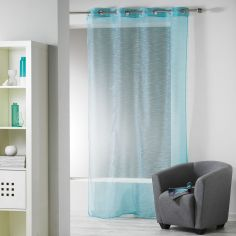 Ollie Striped Eyelet Voile Curtain Panel - Teal Blue