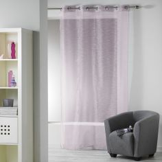 Ollie Striped Eyelet Voile Curtain Panel - Heather