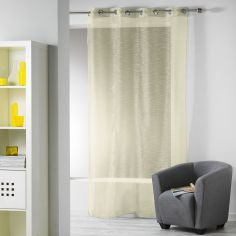 Ollie Striped Eyelet Voile Curtain Panel - Yellow