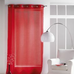 Paloma Eyelet Voile Curtain Panel with Crushed Look - Red