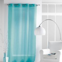 Paloma Eyelet Voile Curtain Panel with Crushed Look - Turquoise Blue