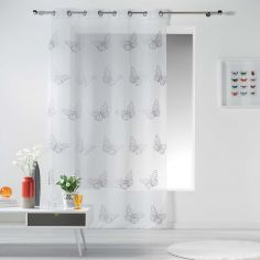 Papillona Butterfly Eyelet Voile Curtain Panel - White & Grey