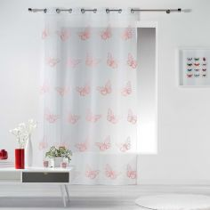 Papillona Butterfly Eyelet Voile Curtain Panel - White & Coral Pink