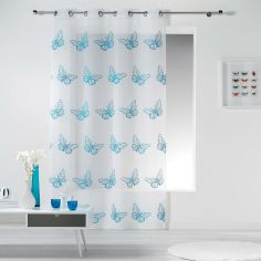 Papillona Butterfly Eyelet Voile Curtain Panel - White & Indigo Blue