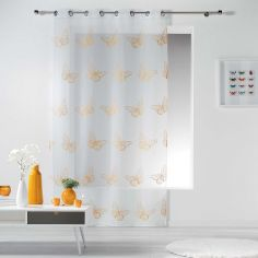 Papillona Butterfly Eyelet Voile Curtain Panel - White & Yellow