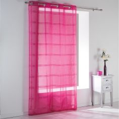 Peps Striped Eyelet Voile Curtain Panel - Fuchsia Pink
