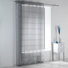 Peps Striped Eyelet Voile Curtain Panel - Grey