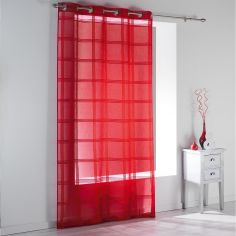 Peps Striped Eyelet Voile Curtain Panel - Red