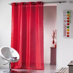 Plisso Crushed Taffeta Eyelet Voile Curtain Panel - Red