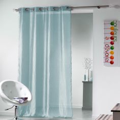 Plisso Crushed Taffeta Eyelet Voile Curtain Panel - Sky Blue