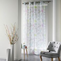 Poesie White Eyelet Voile Curtain Panel with Multicolour Printed Flowers