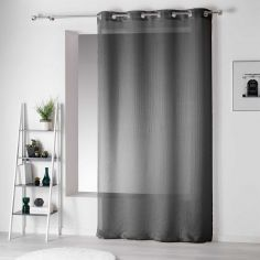 Pointille Striped Eyelet Voile Curtain Panel - Charcoal Grey