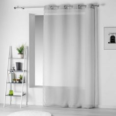 Pointille Striped Eyelet Voile Curtain Panel - Silver Grey