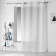 Pointille Striped Eyelet Voile Curtain Panel - White