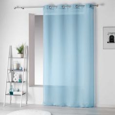 Pointille Striped Eyelet Voile Curtain Panel - Sky Blue