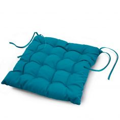 Essentiel Plain Quilted Seat Pad - Teal Blue