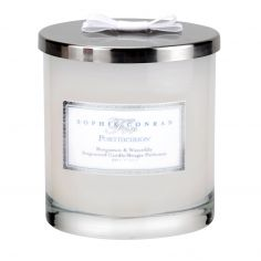 Sophie Conran 2 Wick Wax Filled Glass with Silver Lid & Ribbon - Bergamot & Waterlily