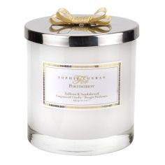 Sophie Conran 2 Wick Wax Filled Glass with Silver Lid & Ribbon - Saffron & Sandalwood