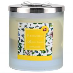 Botanic Garden 2 Wick Wax Filled Glass with Silver Lid & Ribbon - Sunflower