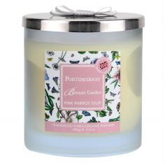 Botanic Garden 2 Wick Wax Filled Glass with Silver Lid & Ribbon - Pink Parrot Tulip