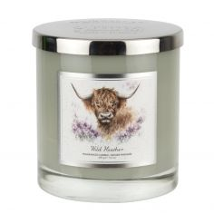 Wrendale Designs Highland Cow 2 Wick Wax Filled Glass - Wild Heather