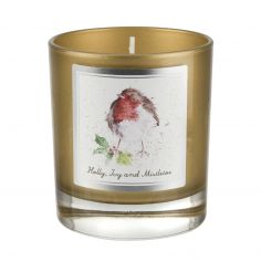 Wrendale Designs Christmas Glass Candle - Holly, Ivy & Mistletoe