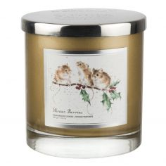 Wrendale Designs Christmas Winter Berries 2 Wick Wax Filled Glass - Vanilla & Cranberry