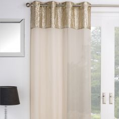 Empire Sequin Voile Curtain Panel - Gold