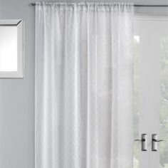 Hoxton Geometric Voile Curtain Panel - White