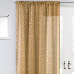 Hoxton Geometric Voile Curtain Panel - Yellow