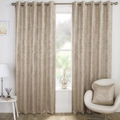 Halo Textured Metallic Eyelet Blockout Curtains - Natural