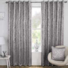 Halo Textured Metallic Eyelet Blockout Curtains - Silver Grey