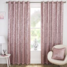 Halo Textured Metallic Eyelet Blockout Curtains - Pink