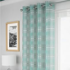 Leon Stripe Voile Curtain Panel - Duck Egg Blue