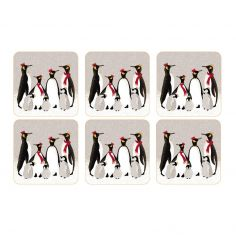 Sara Miller Penguin Christmas Collection Set of Six Coasters