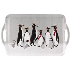 Sara Miller Penguin Christmas Collection Large Handled Tray