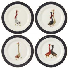 Sara Miller Geese Christmas Collection Set of Four Cake Plates