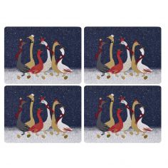 Sara Miller Geese Christmas Collection Set of Four Placemats