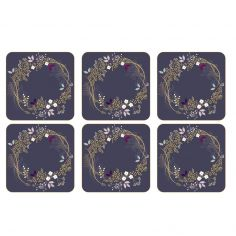 Sara Miller Garland Christmas Set of Six Coasters