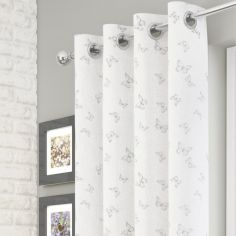 Iona Butterfly Voile Curtain Panel - White