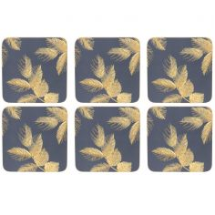 Sara Miller Etched Leaves Set of Six Coasters - Navy Blue