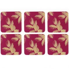 Sara Miller Etched Leaves Set of Six Coasters - Pink