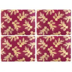 Sara Miller Etched Leaves Set of Four Large Placemats - Pink
