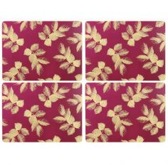Sara Miller Etched Leaves Set of Four Medium Sized Placemats - Pink