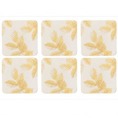 Sara Miller Etched Leaves Set of Six Coasters - Light Grey