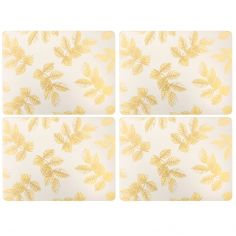 Sara Miller Etched Leaves Set of Four Medium Sized Placemats - Light Grey
