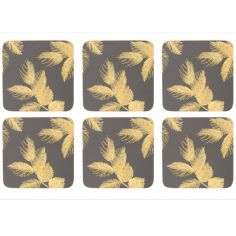 Sara Miller Etched Leaves Set of Four Large Placemats - Dark Grey
