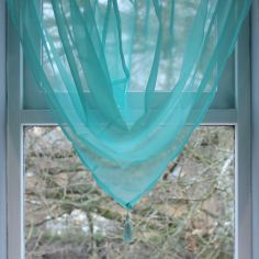 Plain Voile Tassle Swag - Tiffany Blue