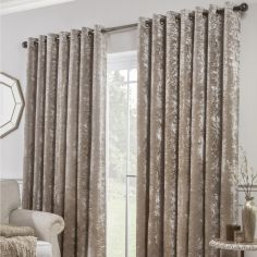 Crushed Velvet Self-Lined Blackout Ring Top Curtains - Praline Natural